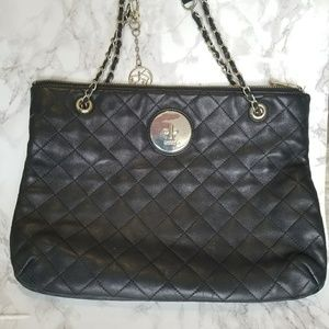 DKNY Black & Gold Quilted Handbag with Chainstrap